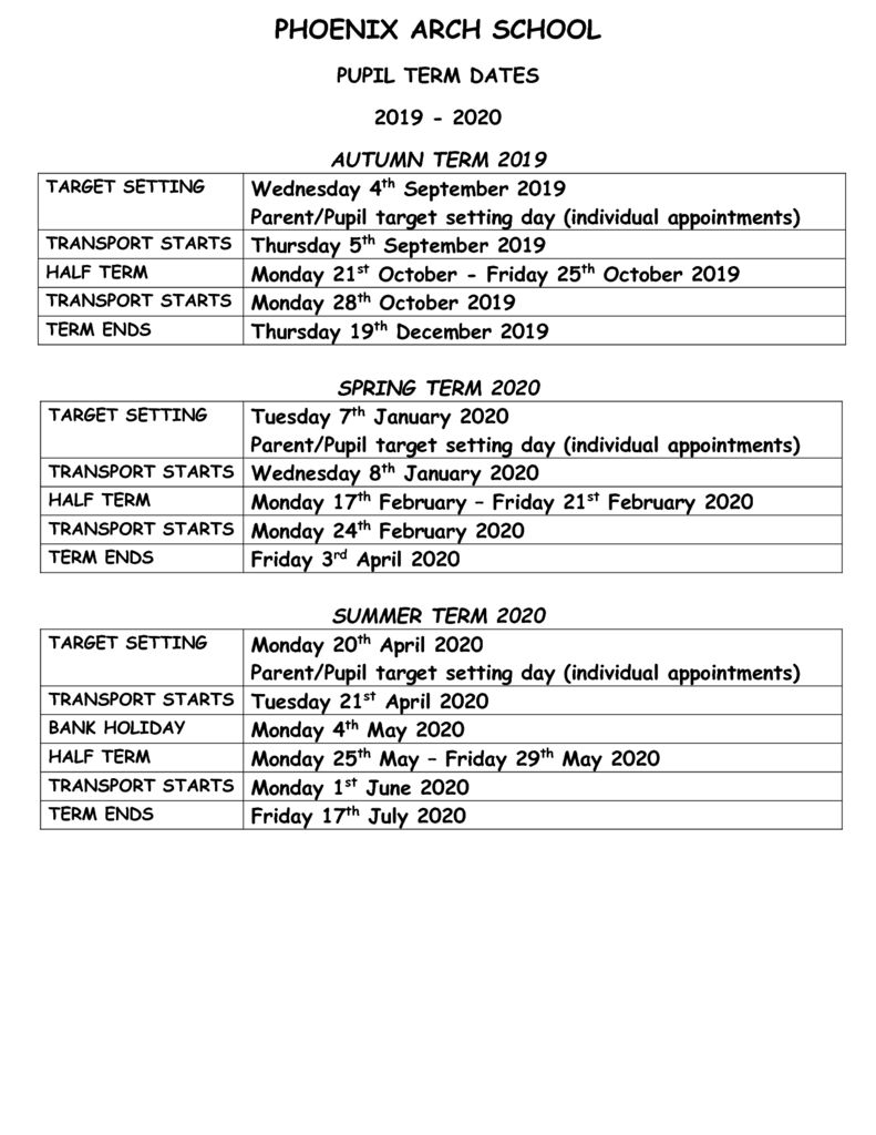 thumbnail of School Term dates – PUPIL 2019-2020
