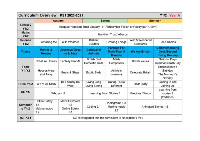 thumbnail of Curriculum Overview KS1